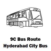 9C Bus route Hyderabad Yousufguda Basti Bus Stop to Mgbs Bus Stop