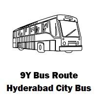9Y Bus route Hyderabad Yousufguda Basti Bus Stop to Afzalgunj Bus Stop