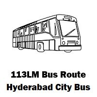 113LM Bus route Hyderabad Uppal Bus Stop to Mehdipatnam Bus Stop